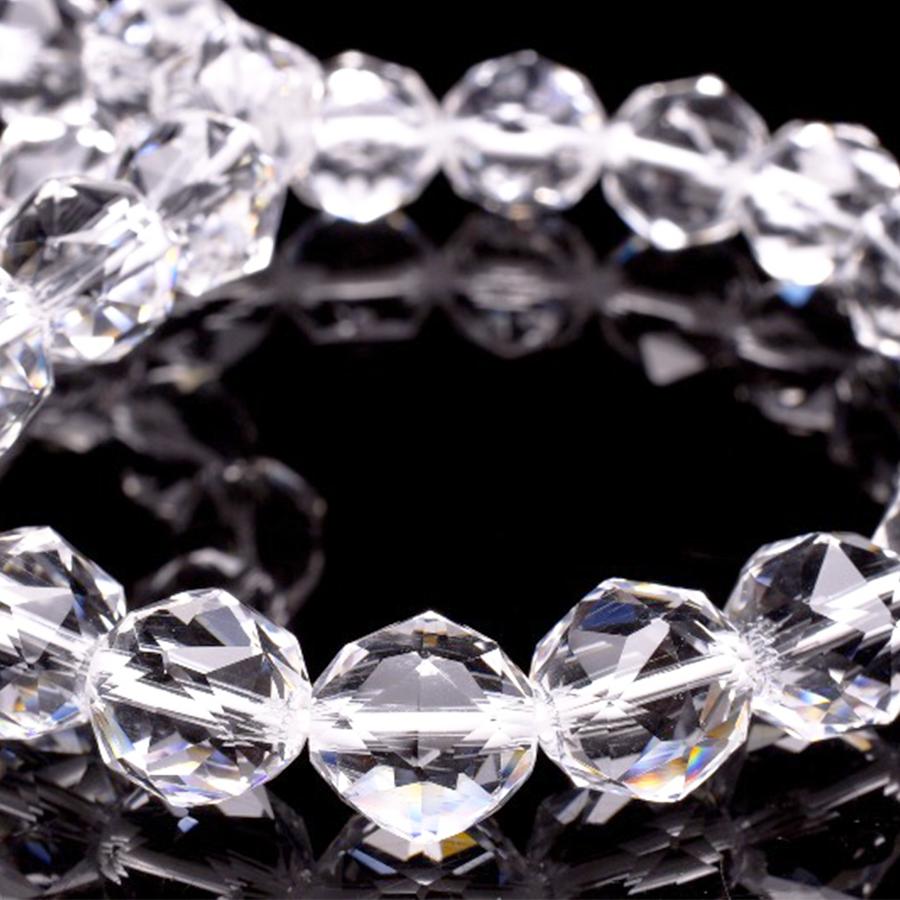 【4月の誕生石】天然石AAA スターカット水晶・19粒ブレスレット(10mm)