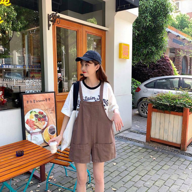 【送料無料】 着回し力抜群♡ カジュアル デニム サロペット ワイドレッグ ショートパンツ