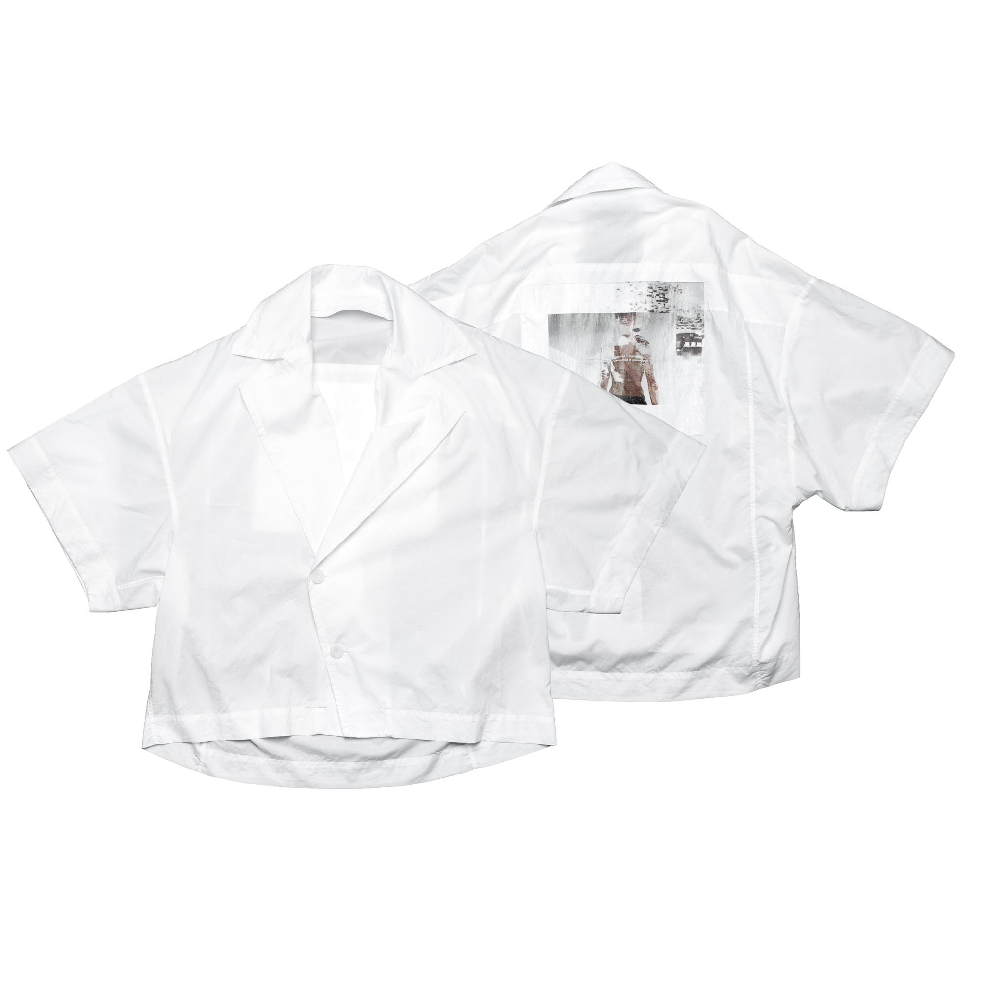 657SHM3-P-WHITE / プリントオープンカラーボックスシャツ