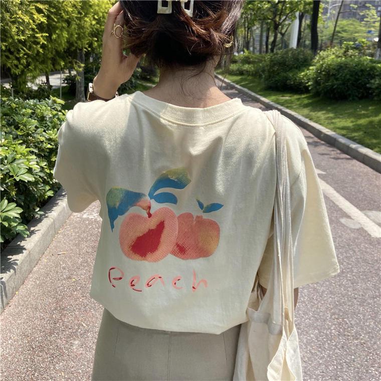 【送料無料】 女っぽカジュアル♡ 手書き風 バックプリント ロゴ オーバーサイズ Tシャツ 華奢見え トップス