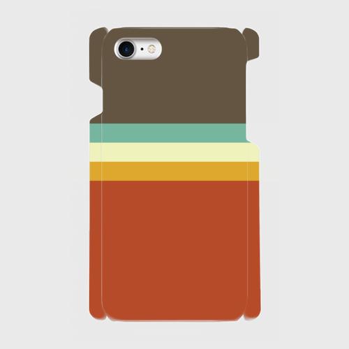 レトロストライプ(暗灰・水・薄緑・橙) / iPhoneスマホケース(ハードケース)