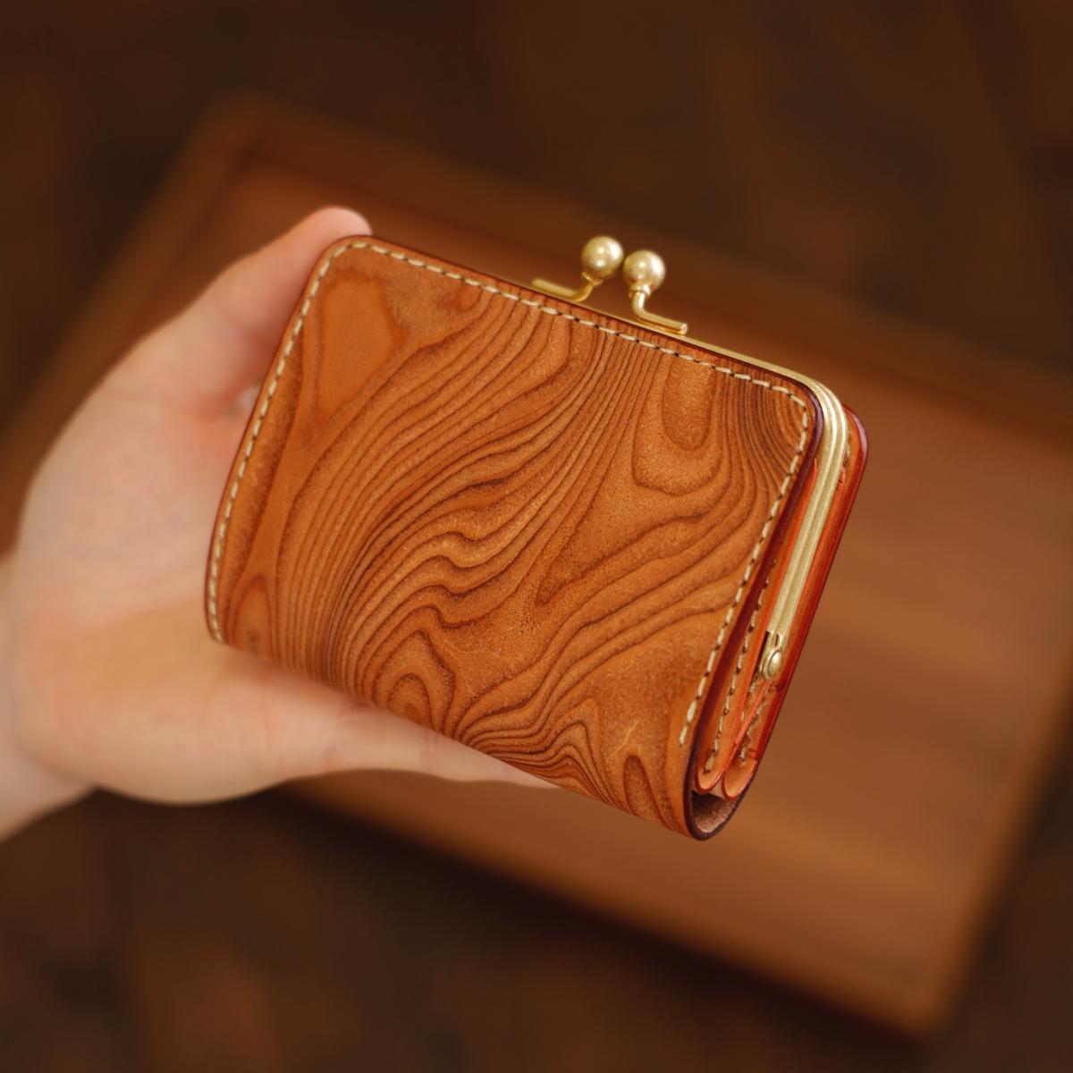 【限定品】小さいがま口財布 / Wood pattern Beige