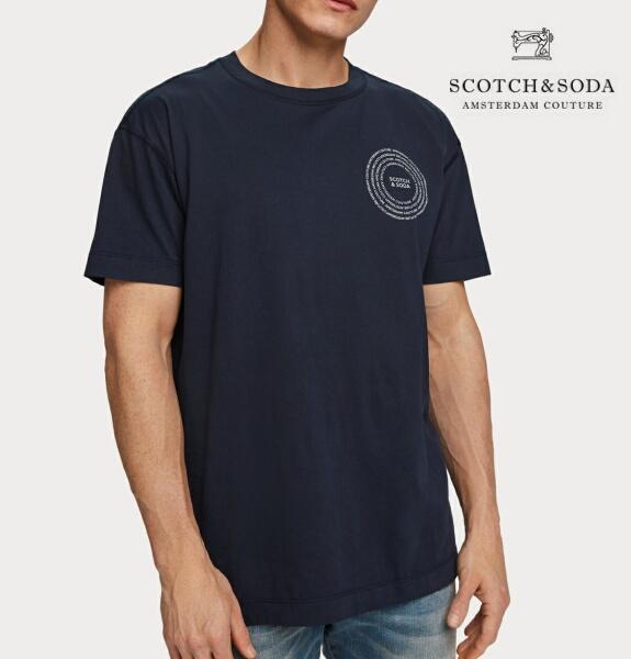 スコッチ&ソーダ SCOTCH&SODA 半袖 Tシャツ クルーネック プリント Tシャツ ネイビー 292-14410