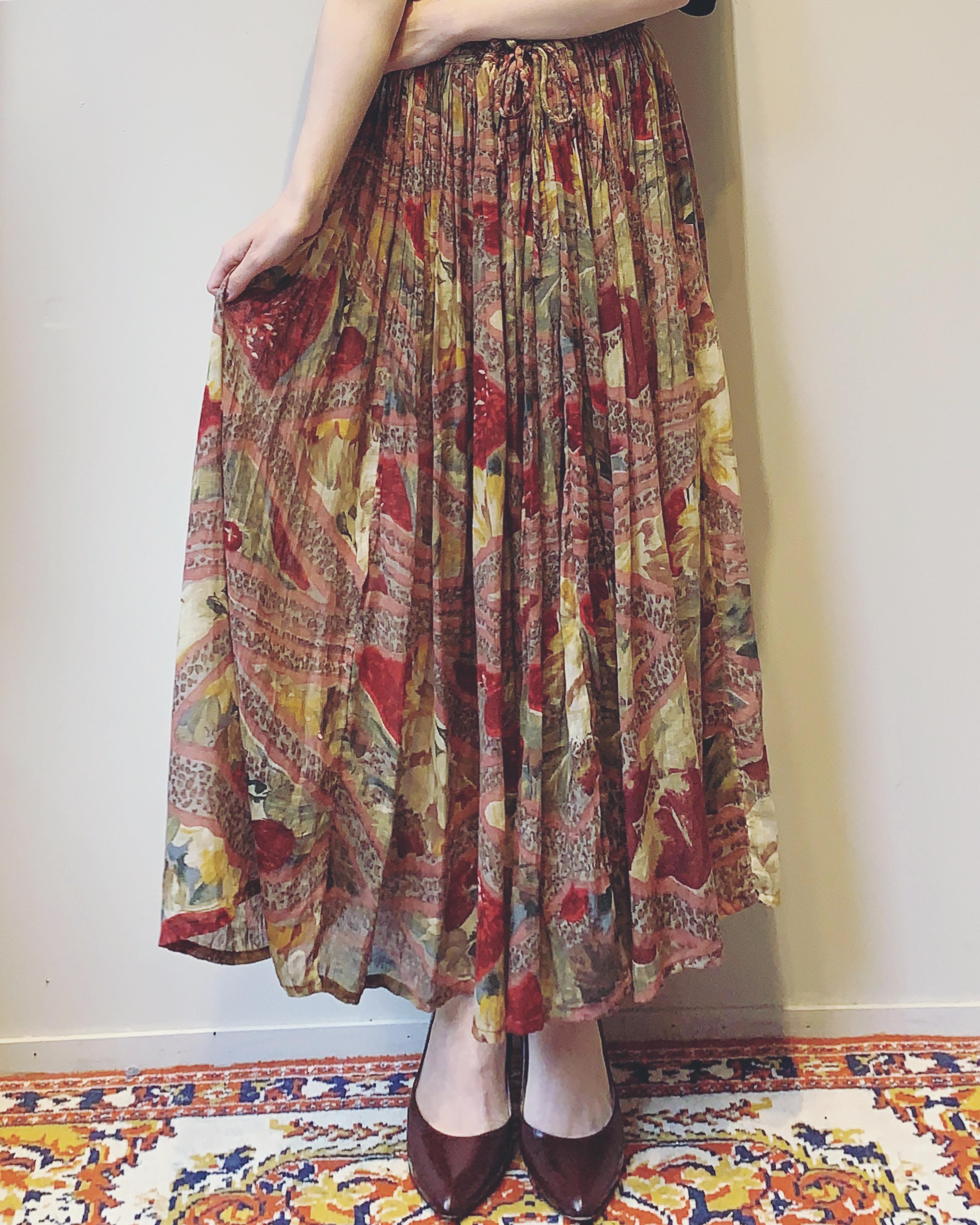 vintage pink leopard mix design skirt