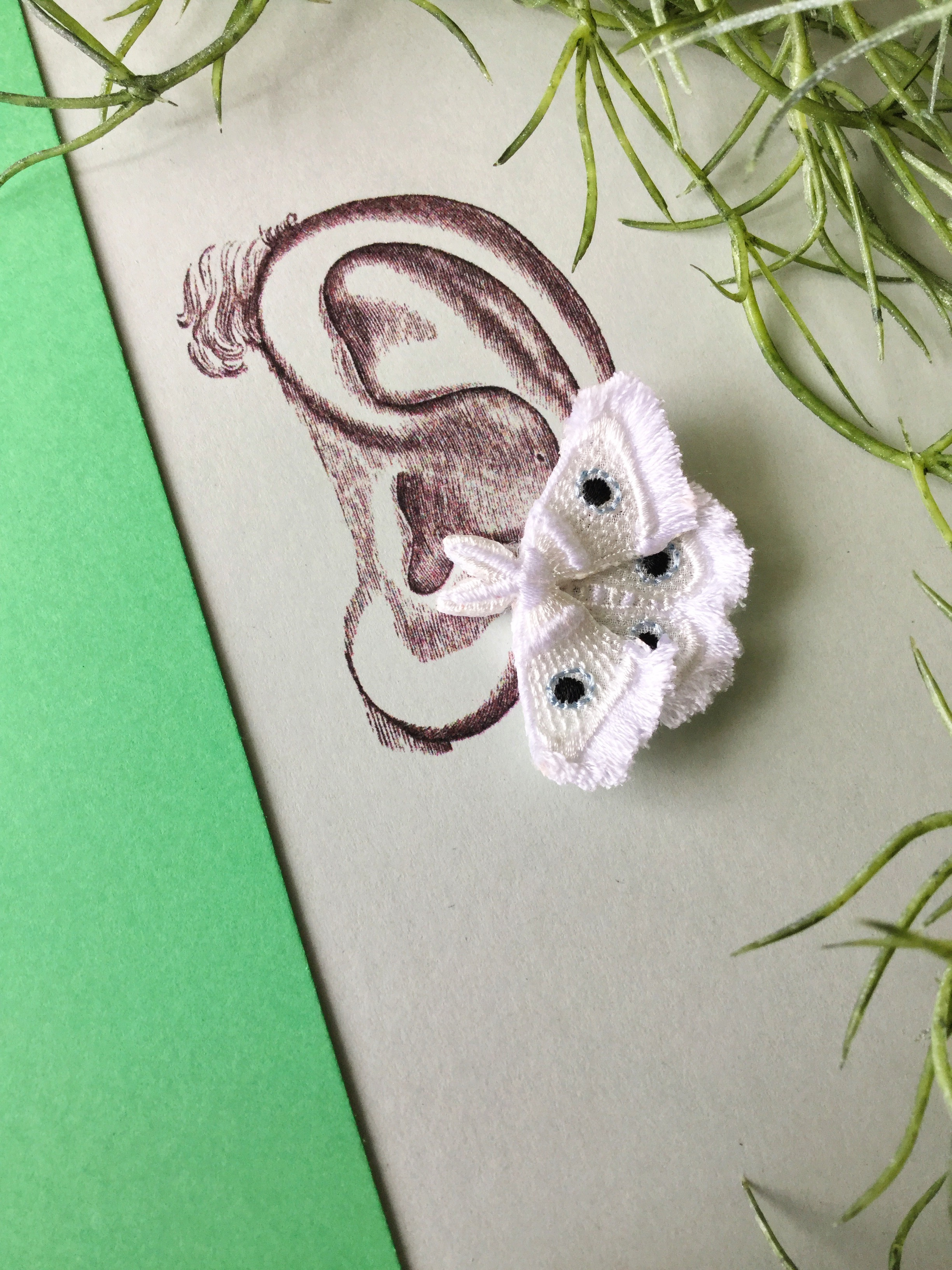 ARRO / 刺繍 / イヤークリップ / ピアス / MOTH / white
