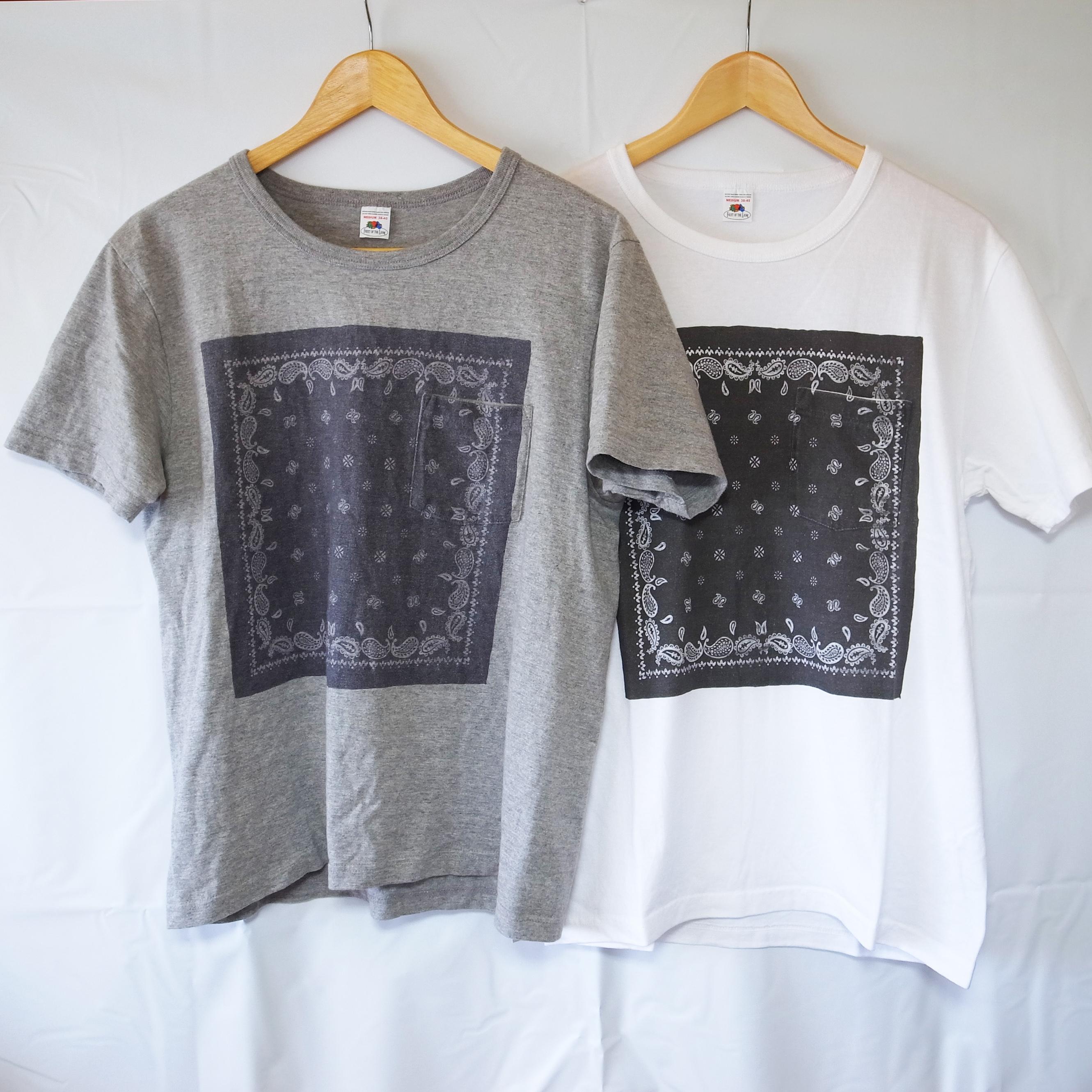 ペイズリー バンダナ柄 メンズ ポケットTシャツ