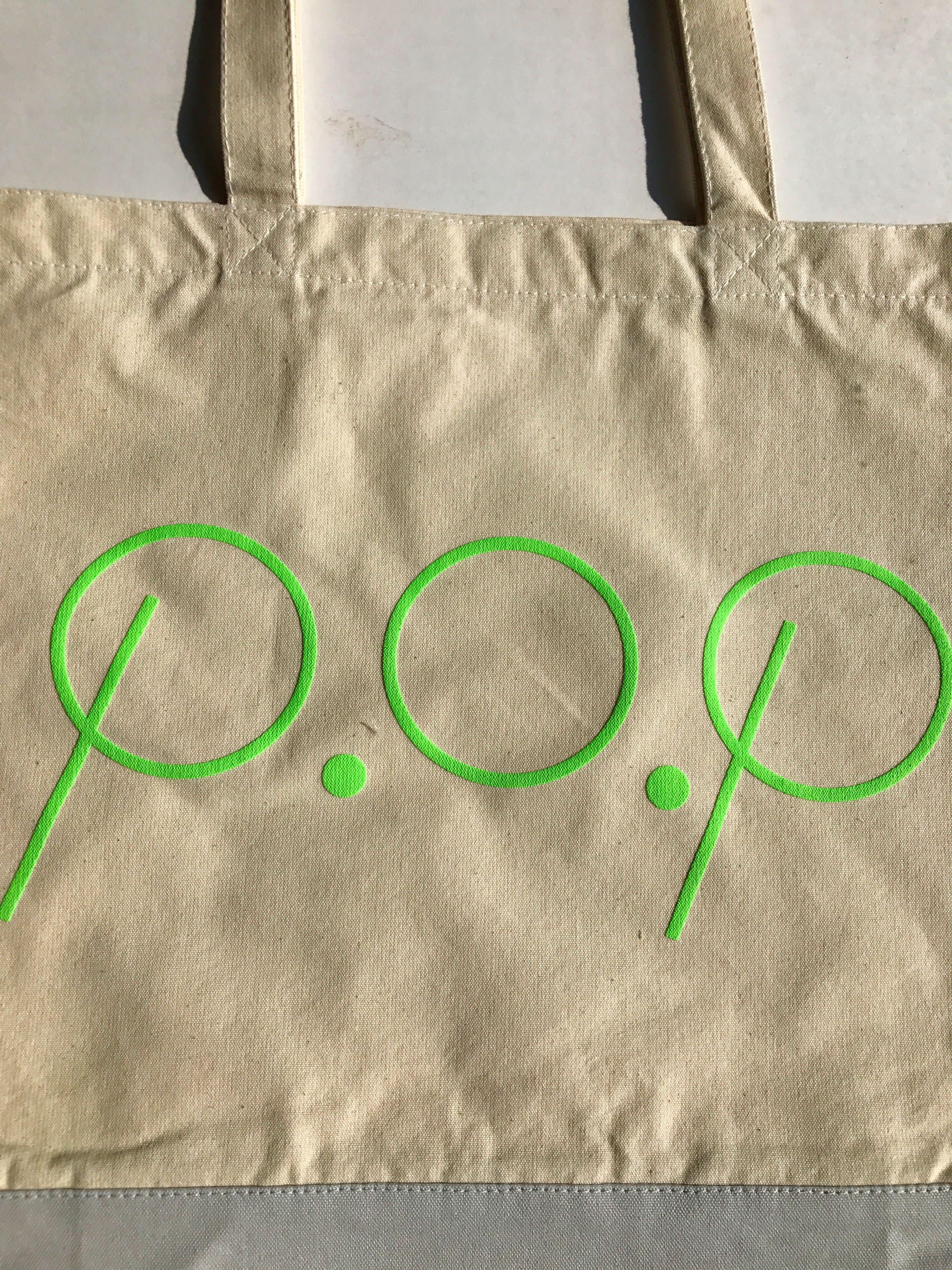 P.O.P トートバッグ 蛍光グリーン - 画像1