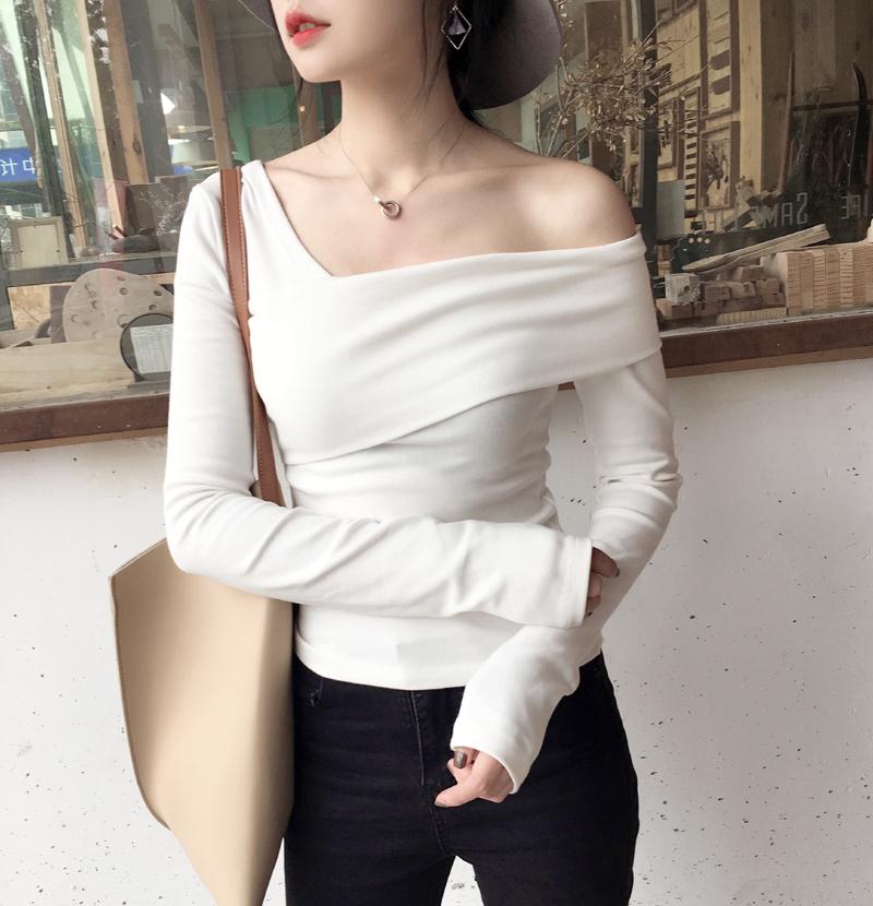 「トップス」ファッション韓国風肩見せシンプル柔らかい質感無地3いろtシャツ