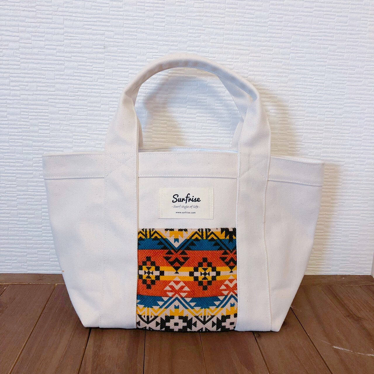 White camp tote bag S - Orange