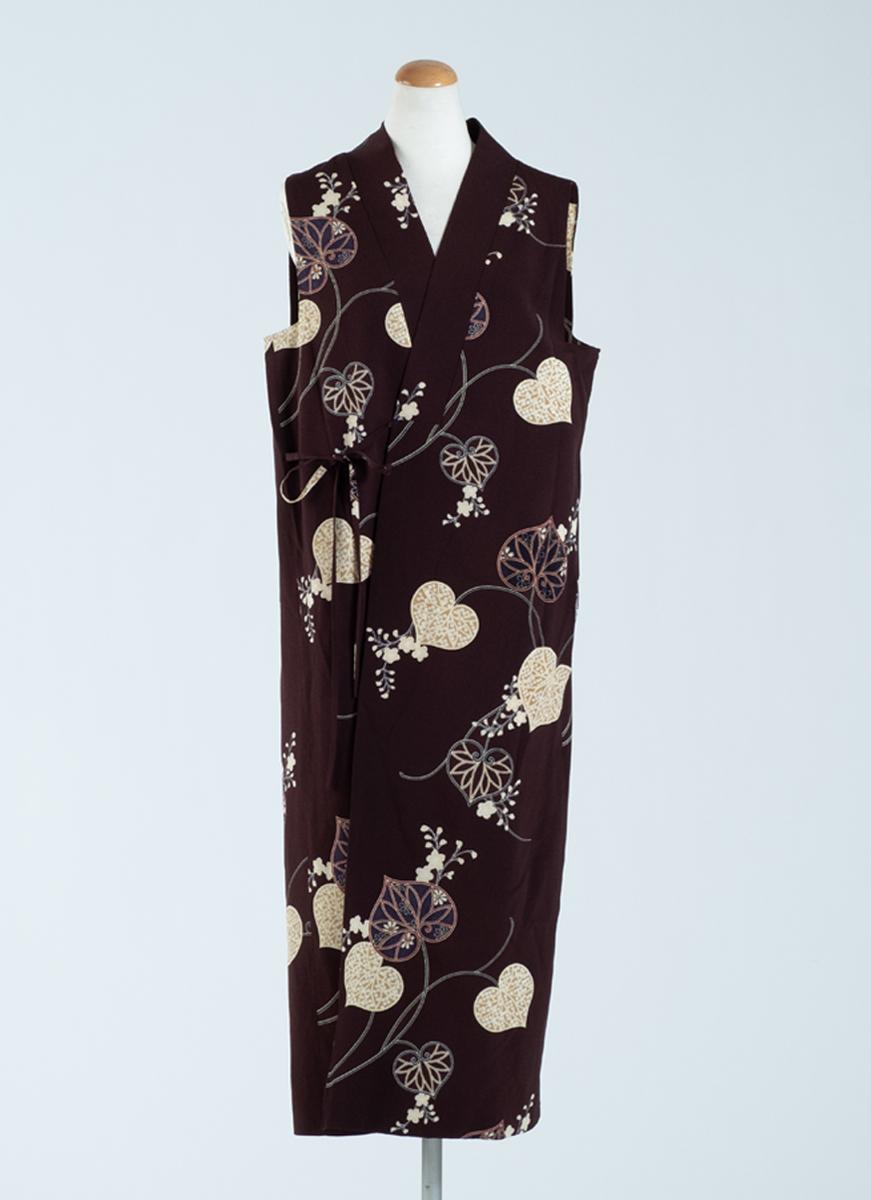 葵模様 スリーブレスドレス 着物 正絹製