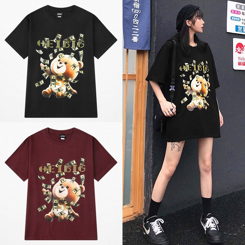 ユニセックス Tシャツ 半袖 メンズ レディース ラウンドネック お金をばら撒いてるクマちゃん ベアー プリント オーバーサイズ 大きいサイズ ルーズ ストリート