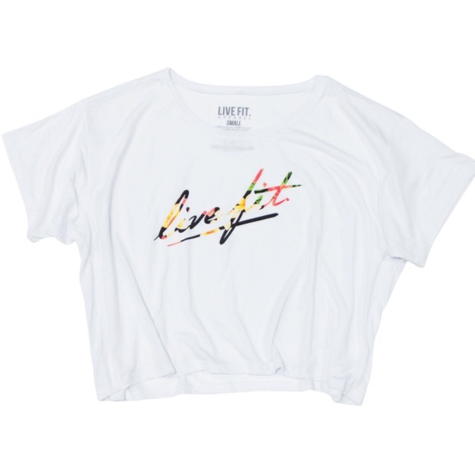 LIVE FIT Strike Crop Tee- White