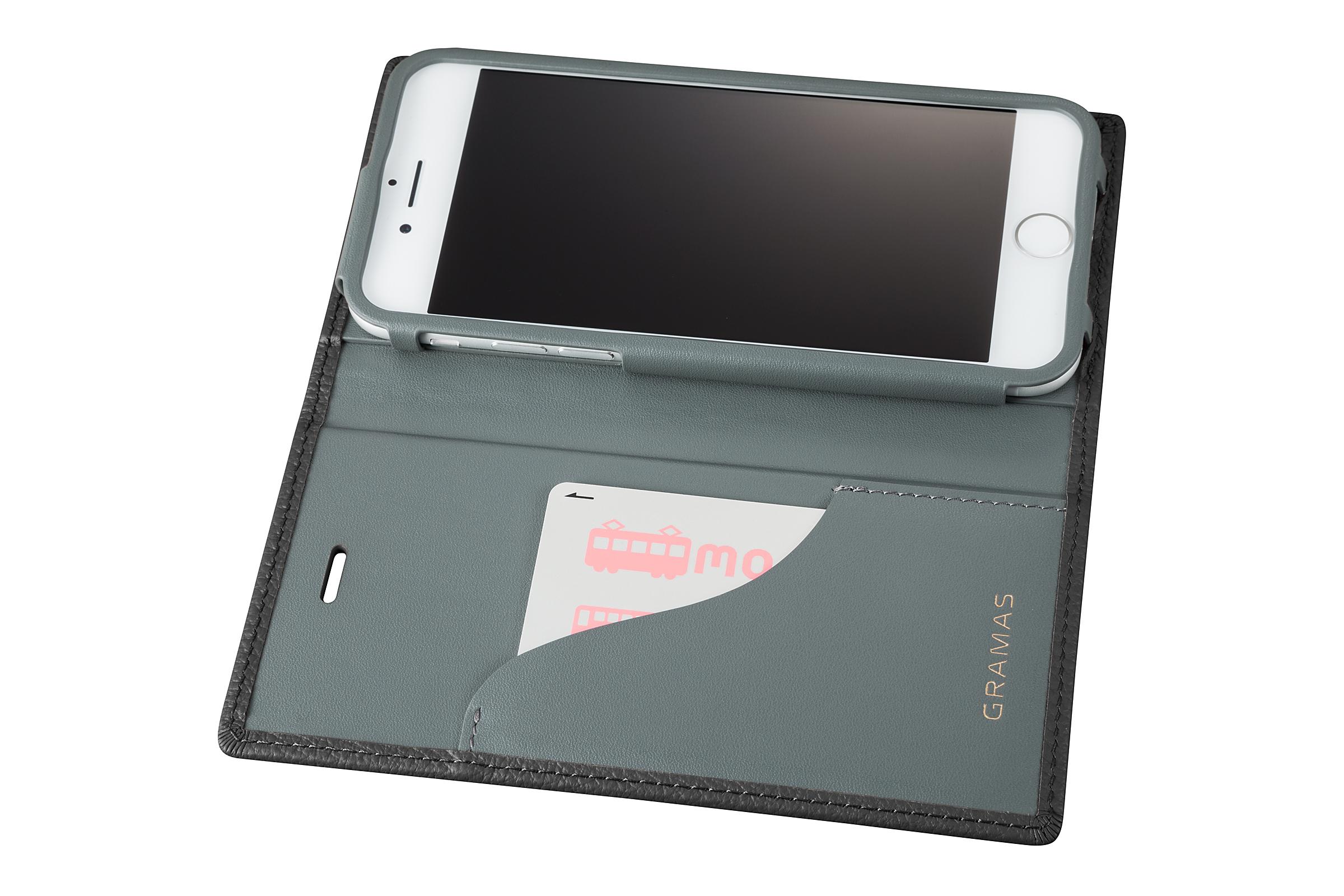 GRAMAS Shrunken-calf Full Leather Case for iPhone 7(Black) シュランケンカーフ 手帳型フルレザーケース GLC646BK - 画像4