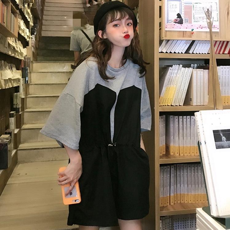 ドッキングワンピース Tシャツ トレンチ 韓国ファッション オルチャンファッション