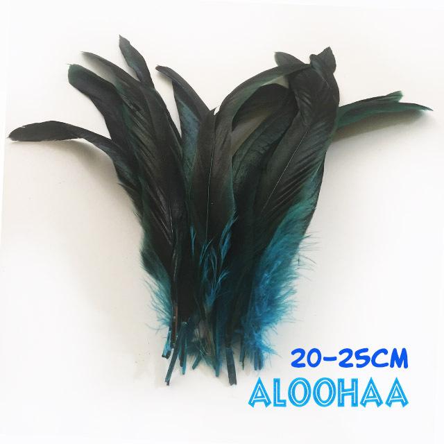 ロングフェザー 【ターコイズ】20-25cm タヒチアン 衣装 材料 ルースターテール 染め 羽根