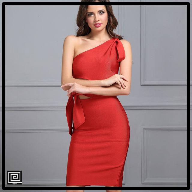 ワンショルダータッセルドレス