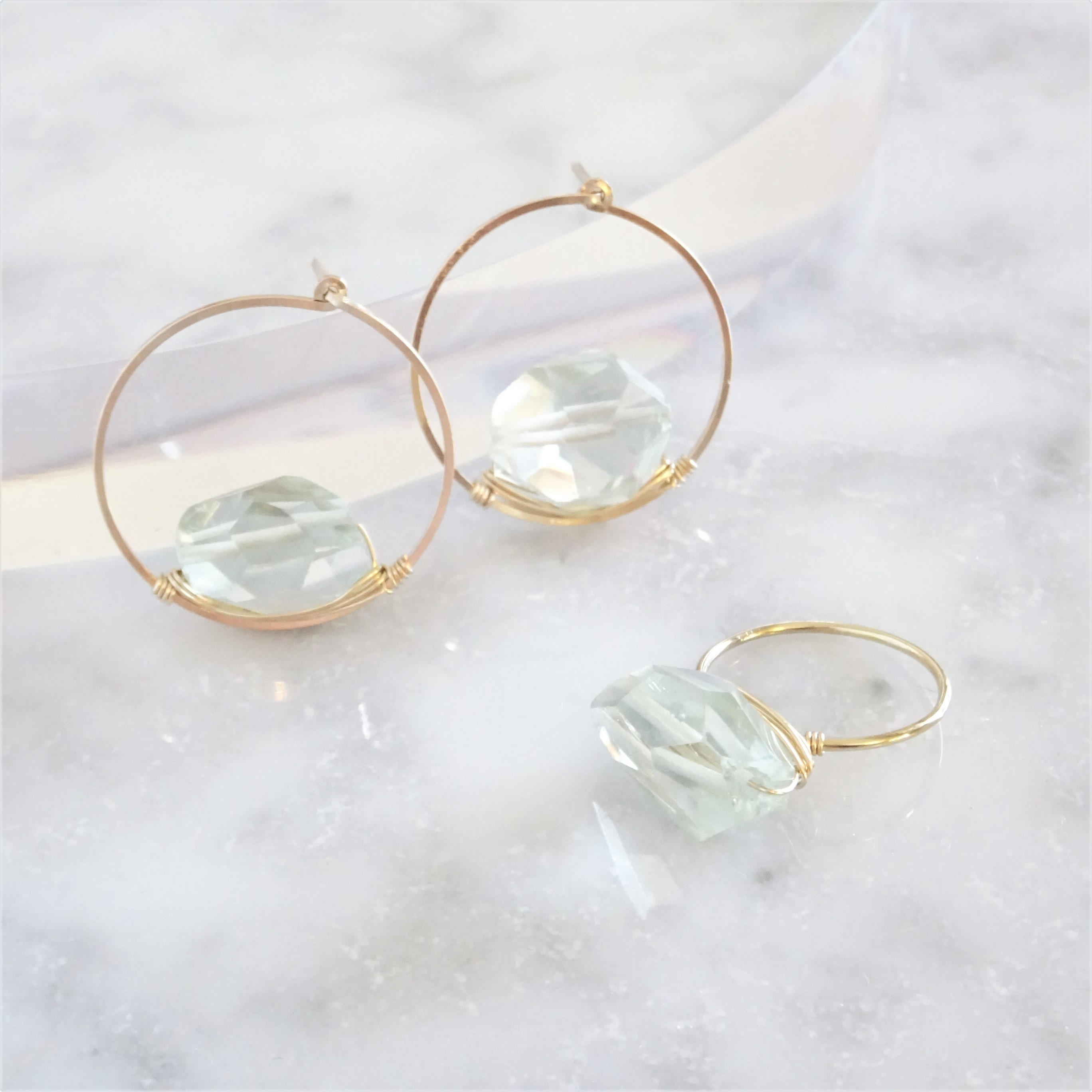 福袋14kgf*宝石質Amethyst wrapped ring + pierced earring
