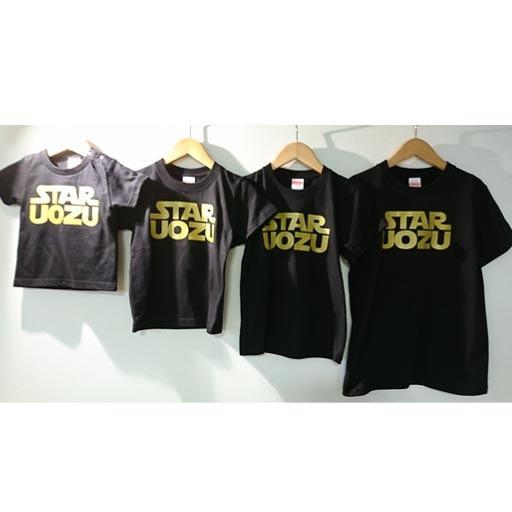 STAR UOZU キッズTシャツ ブラック×ゴールド