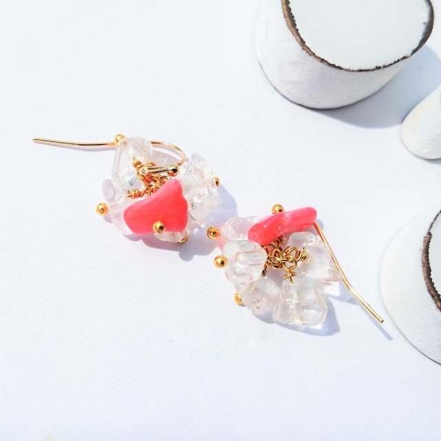 送料無料14kgf coral pink*crushed ice pierce/earring