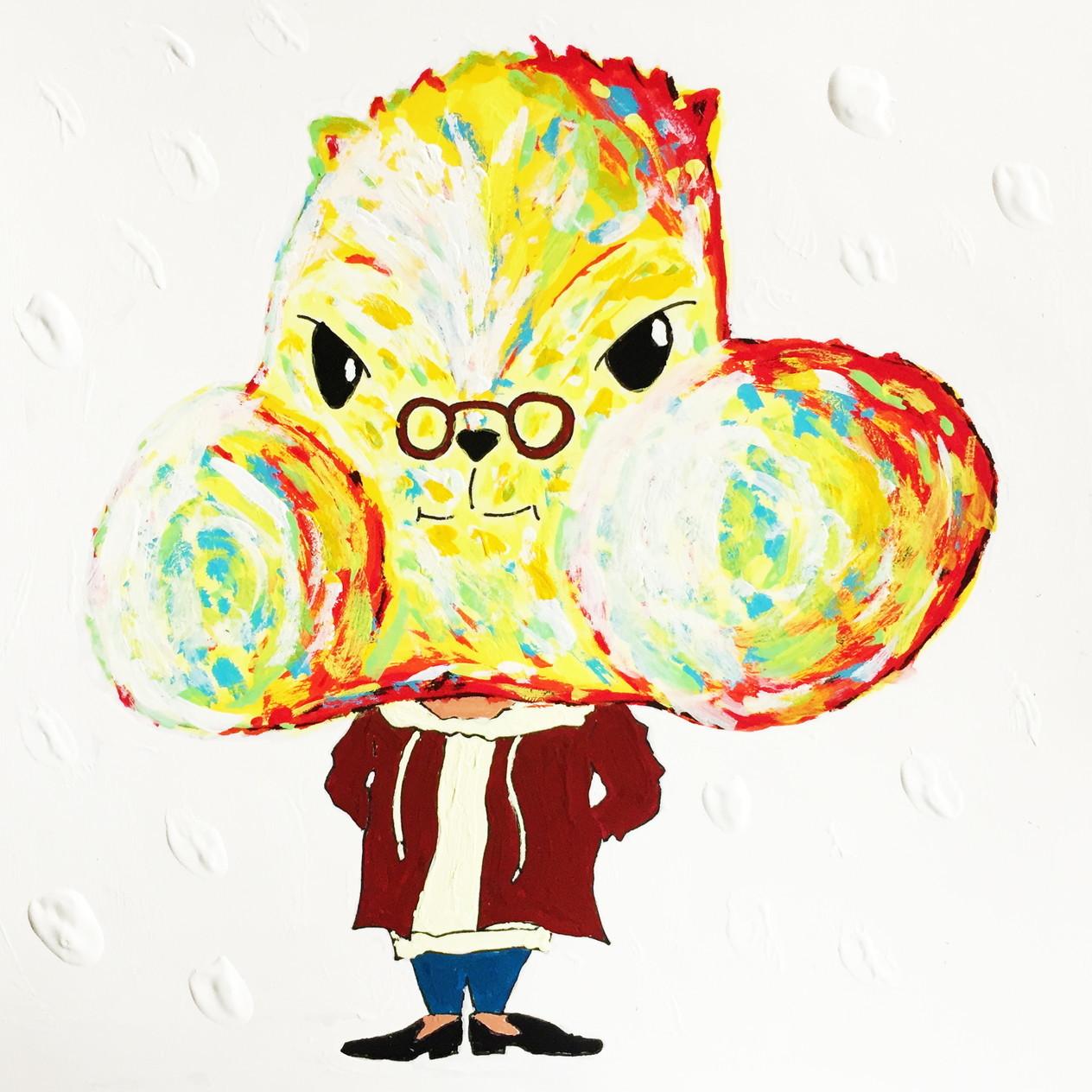 絵画 インテリア アートパネル 雑貨 壁掛け 置物 おしゃれ アクリル画 イラスト リス 動物 ロココロ 画家 : yuki 作品 : 慢心