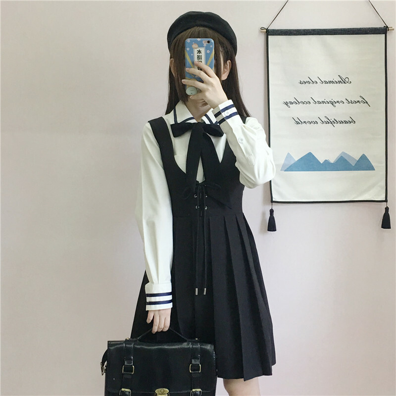【送料無料】お嬢様風セットアップ ♡ 2点セット 制服 ガーリー シャツ × プリーツ ジャンパースカート ワンピース