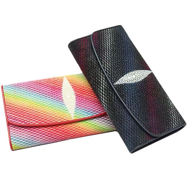 【エイ革財布】レディース 長財布 ロング二つ折り財布 スティングレイ【金運アップ】