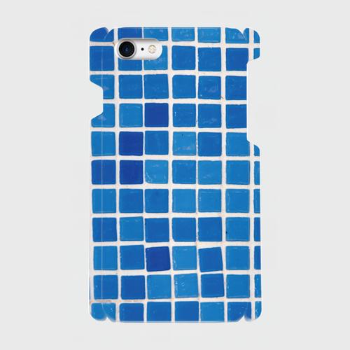 モザイクタイル(青)/ iPhoneスマホケース(ハードケース)