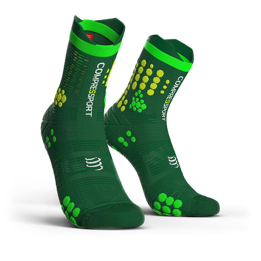 COMPRESSPORT コンプレスポーツ Pro Racing Socks v3.0 Trail プロレーシング ソックス V3.0 トレイル GREEN/YELLOW(グリーン/イエロー)TSHV3-6140YL