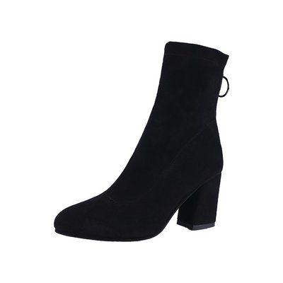 ソックス ブーツ 秋冬 新しいデザイン ブラック ハイヒール ストレッチブーツ 女ブーツ N0104003