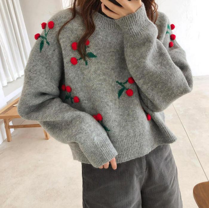 【送料無料 】さくらんぼ ♡ レトロ ガーリー チェリー 刺繍 ニット セーター プルオーバー トップス