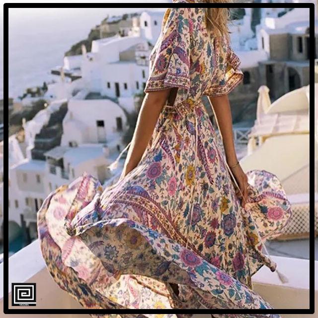 ヴィンテージエスニックVネックマキシビーチドレス