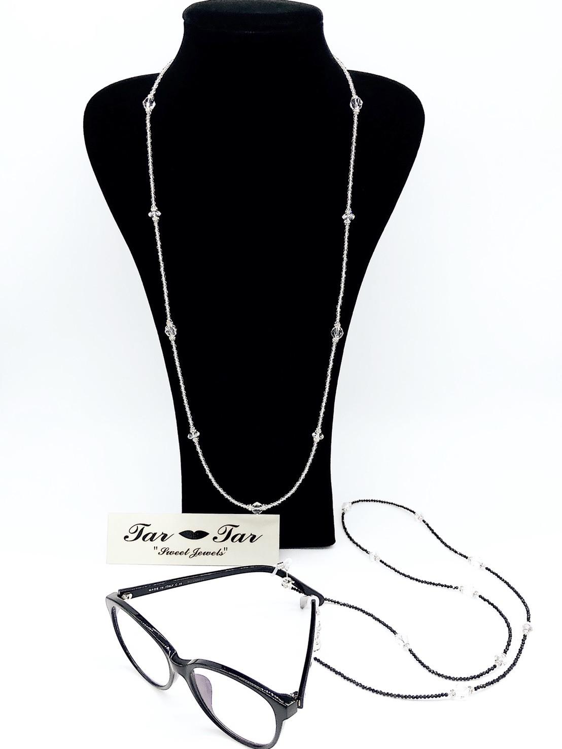 【送料無料】水晶・ブラックスピネルグラスコードネックレス