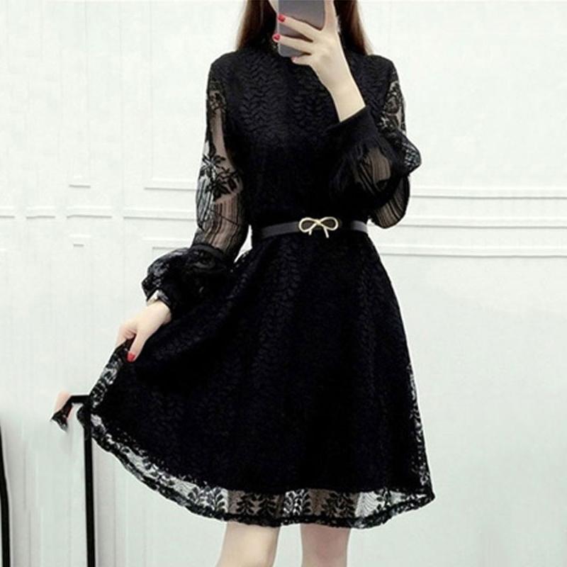 【ワンピース】ファッション透かし彫り無地Aライン23873970