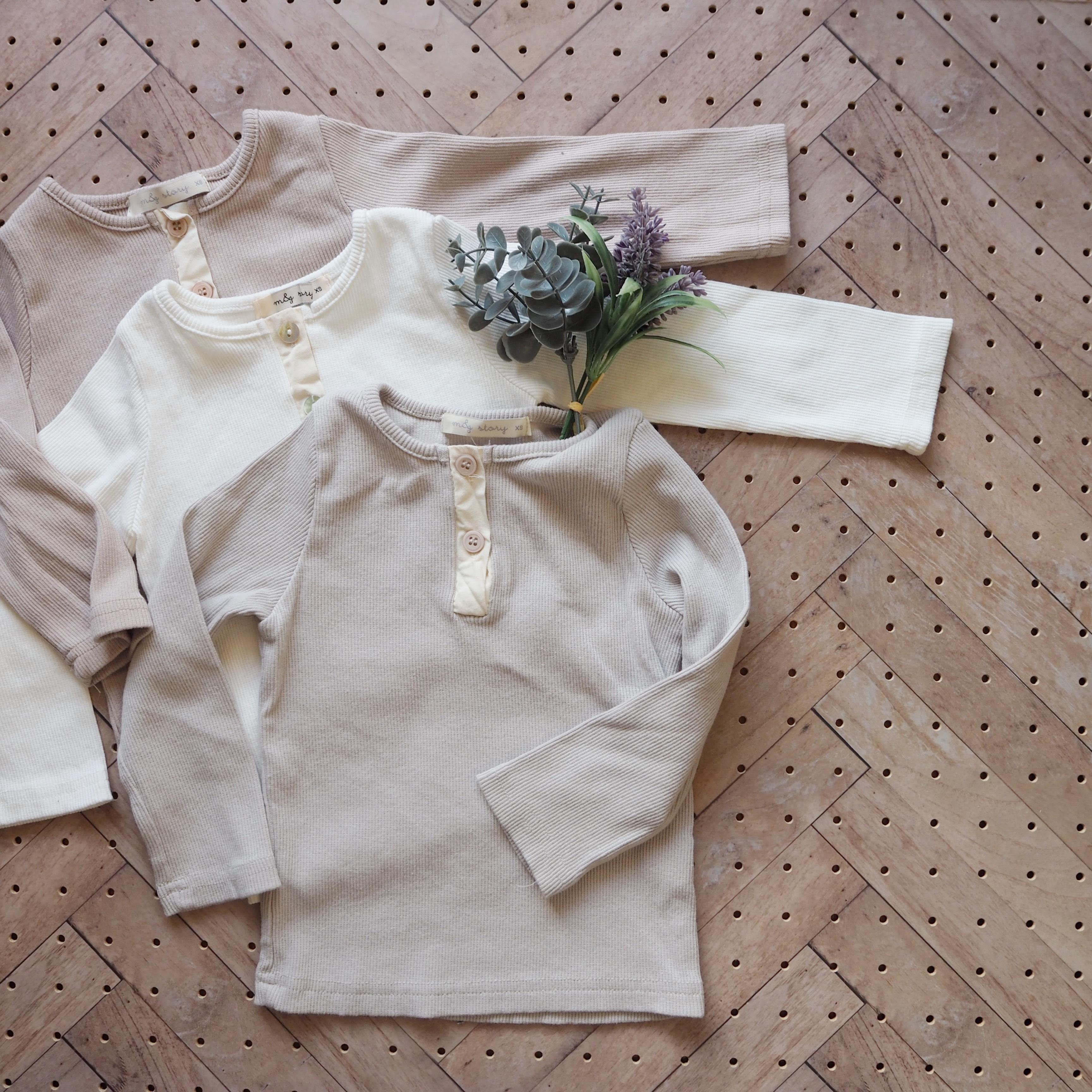 春カラーナチュラルコットンヘンリーTシャツ