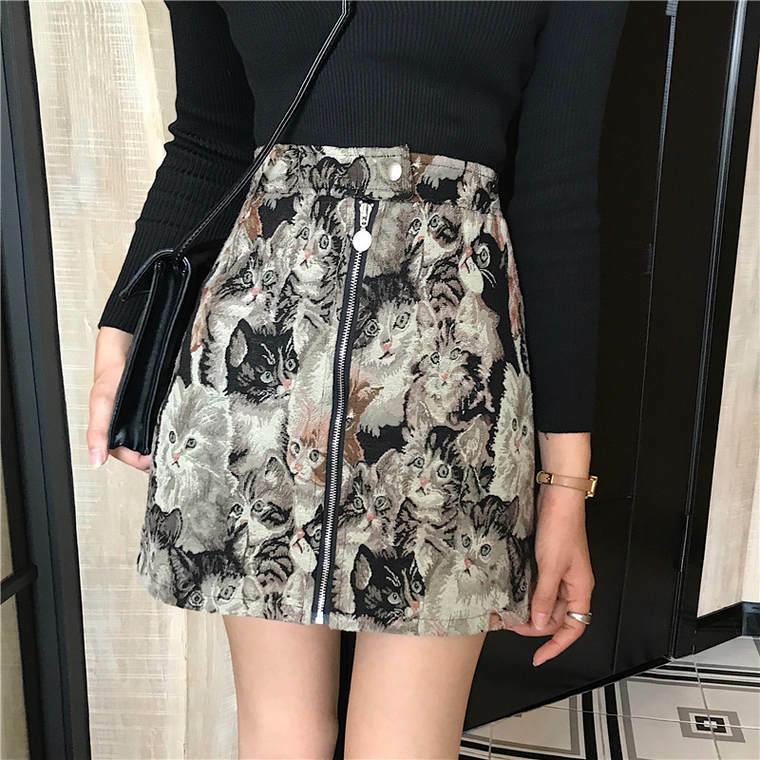 【送料無料】 着映えスカート♡ 猫柄 刺繍 ジップアップ ミニ スカート ハイウエスト ヴィンテージ レトロ