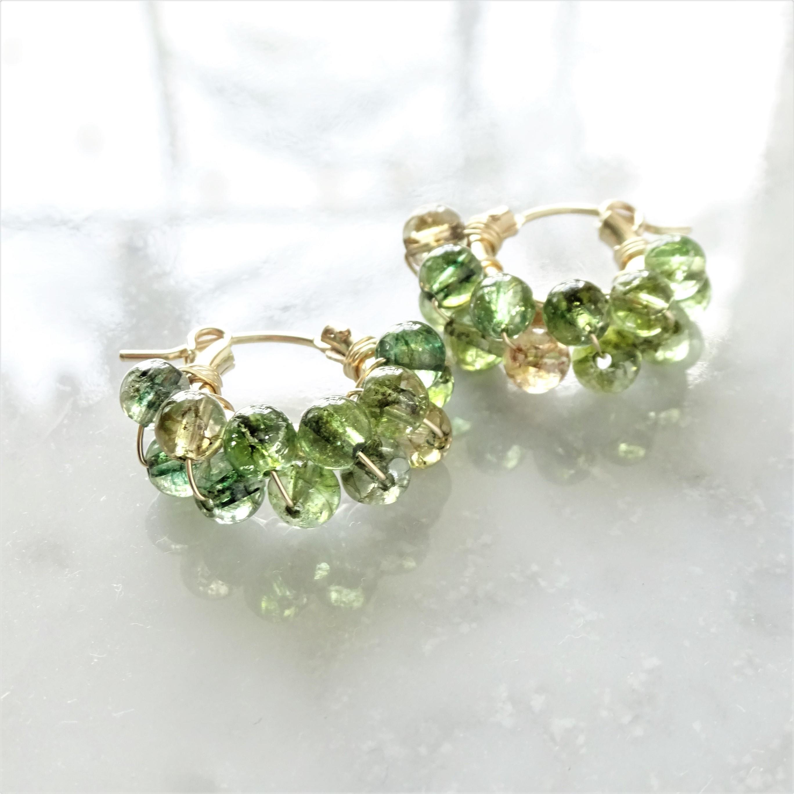 14kgf*multicolored Quartz pierced earring / earring GRN