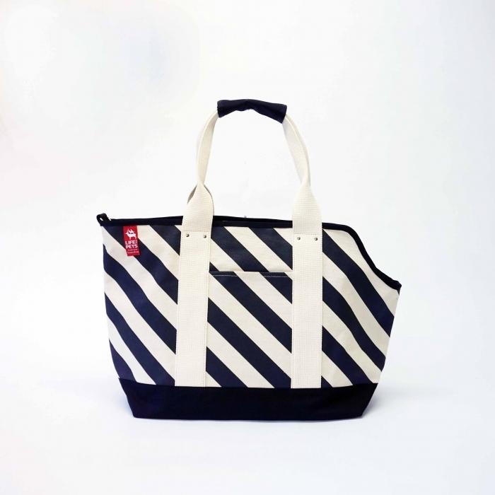pet carry bag L / black x stripe ペットキャリーバッグL / 墨 x 縞