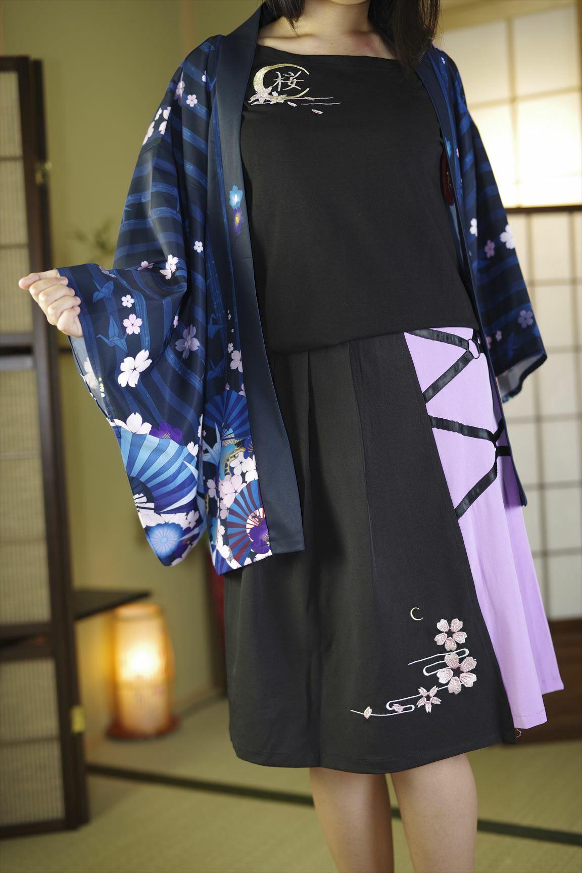 【美脚タイツプレゼント】月/桜刺繍/丸カンプリーツ膝丈スカート