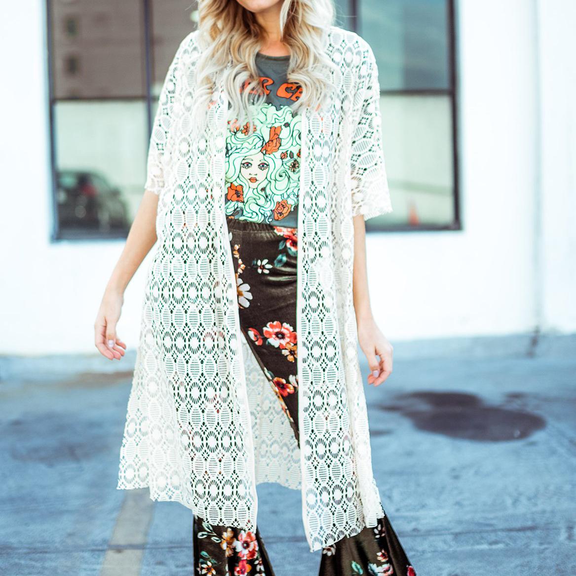 Floral Style Lace Cardigan Kimono