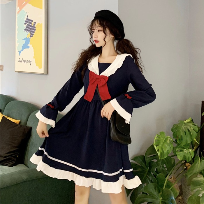 【dress】超人気リボン付き配色ファッションデートワンピース23449971