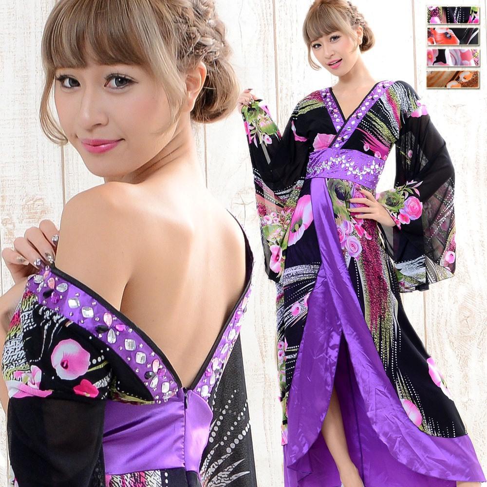 HW コスチューム数量限定販売 ゴージャスビジューロング着物ドレス 衣装 ダンス 花魁 コスプレ 0394A