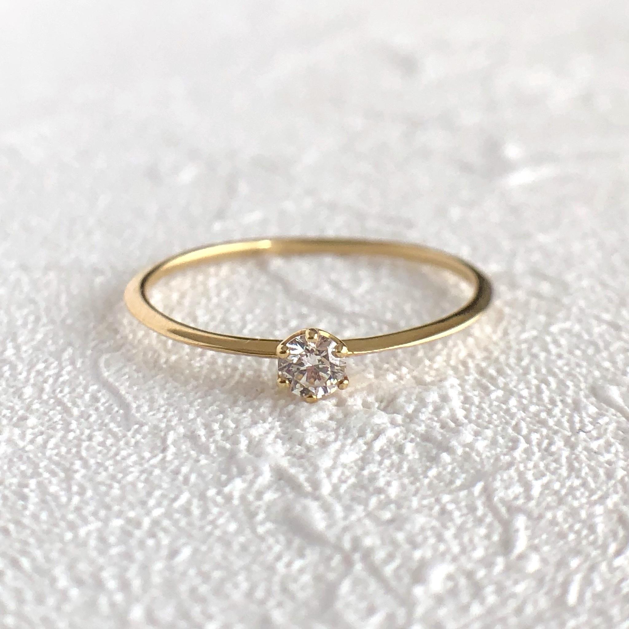 ひと粒 ダイヤモンド  リング  0.07ct  K18イエローゴールド/ピンクゴールド チェカ 鑑別書付