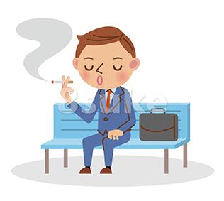 イラスト素材:ベンチに座ってたばこを吸うビジネスマン(ベクター・JPG)