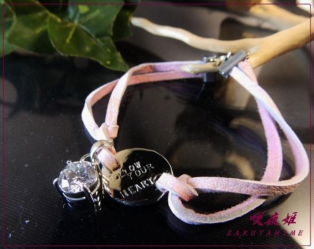 シルバー925と鹿革のコラボブレス チャーム付ピンク