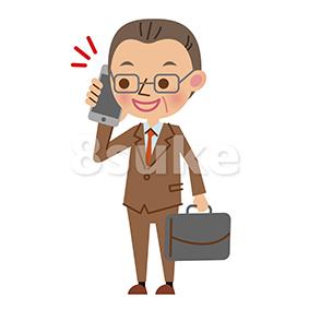 イラスト素材:スマートフォンで通話する中年のビジネスマン(ベクター・JPG)