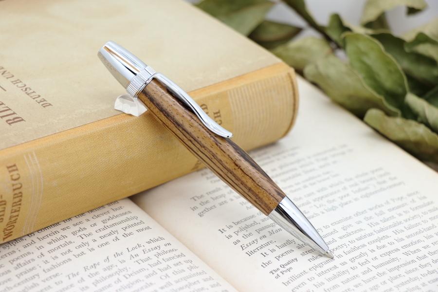 受注制作「Chouette・ゼブラウッド」希少木の手作りボールペン♪ジェットストリーム対応