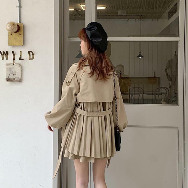 【送料無料】 今っぽ セットアップ ♡ バックシャン 大人可愛い プリーツ トレンチコート × ミニ スカート