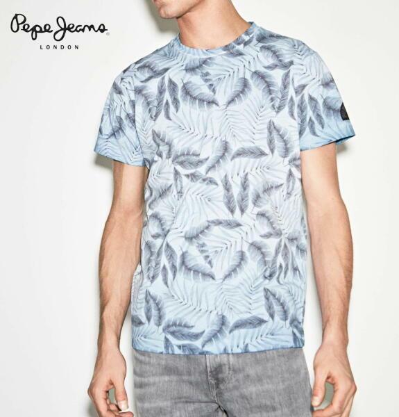 ペペジーンズ ロンドン メンズ トップス 半袖 Tシャツ ボタニカル PEPE JEANS LONDON OXNARD GLACIER【正規取扱店】