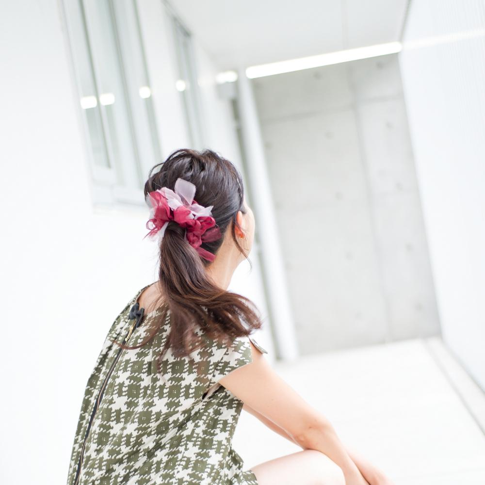 Wine~彩る咲き編みシュシュ