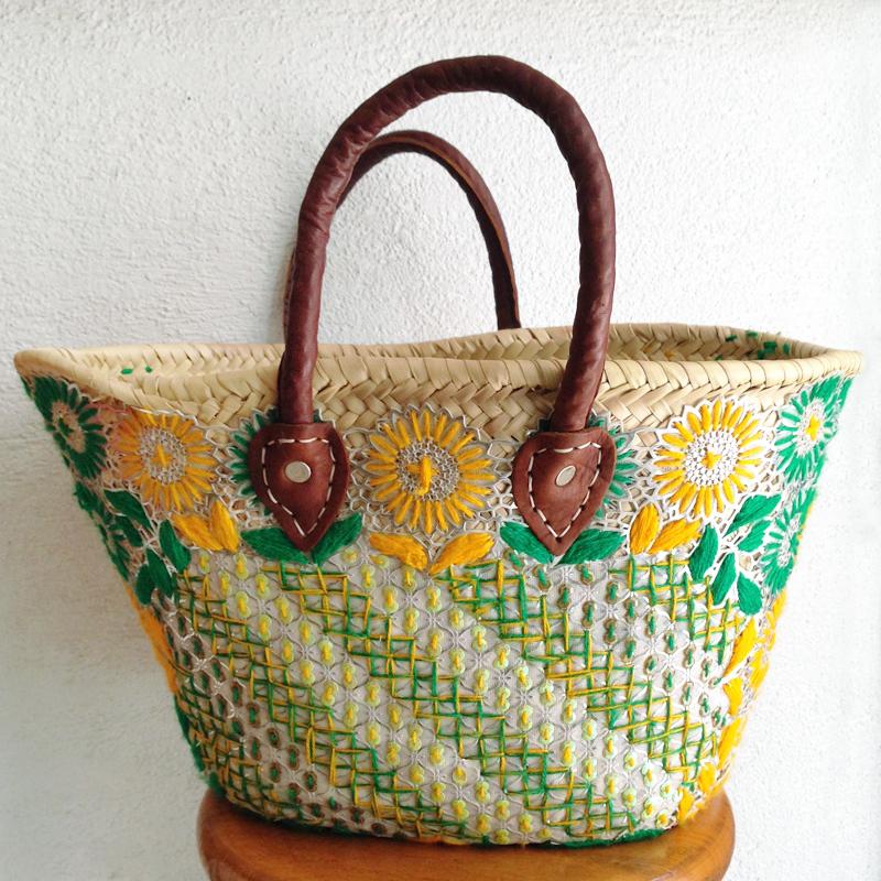 かごバッグ/花刺繍/24/marche bag/MOROCCO モロッコ